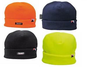 05d80aa52bc Image is loading Portwest-HA10-Fleece-Beanie-Hat-Thinsulate-Lined-Unisex-