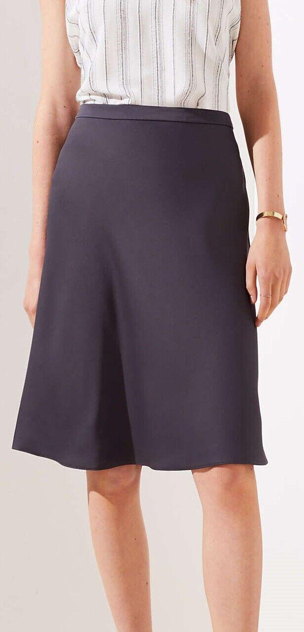 Ann Taylor LOFT Satin Midi Skirt Size 8 NWT Coastal Grey color