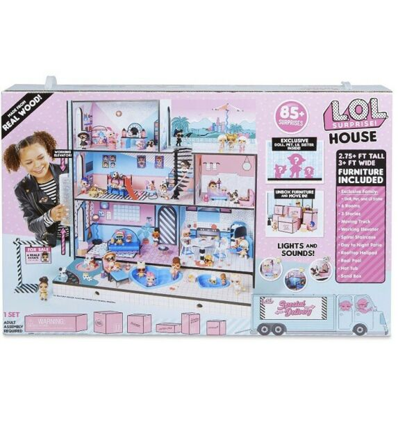 SURPRISES WOODEN MULTI STORY COLORFUL GIRLS LOL SURPRISE DOLL HOUSE WITH 85