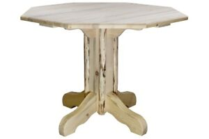 Small Log Dining Table Amish Made Kitchen Tables Octagon Top Ebay