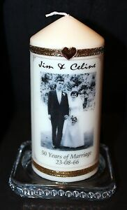 Image Is Loading 50th Wedding Anniversary Congratulations Personalised Photo Candle Gift