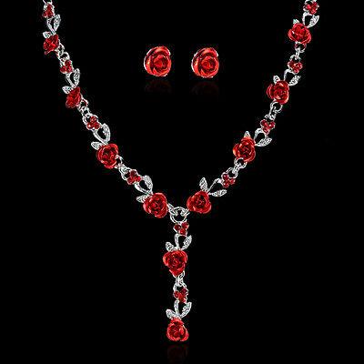 Women Wedding Bridal Bride Flower Crystal Necklace Earrings Set Jewelry Gift Hot