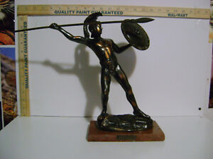 12-034-VINTAGE-Leonidas-Of-Sparta-Bronze-Statue-with-SPEAR-AND-SHEILD-MARBLE-BASE