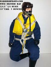 "1/4.5 ~ 1/4 Scale 15"" Tall WWII British RAF RC Pilot Figure"