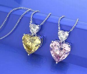 Damen-Halskette-echt-Silber-925-Herz-Citrin-Moissanite-Stein-Kette-mit-Anhaenger