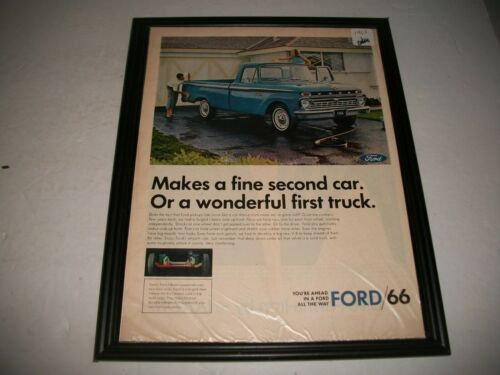 1966 FORD PICKUPS ORIGINAL PRINT ADVERTISEMENT GARAGE ART COLLECTIBLE