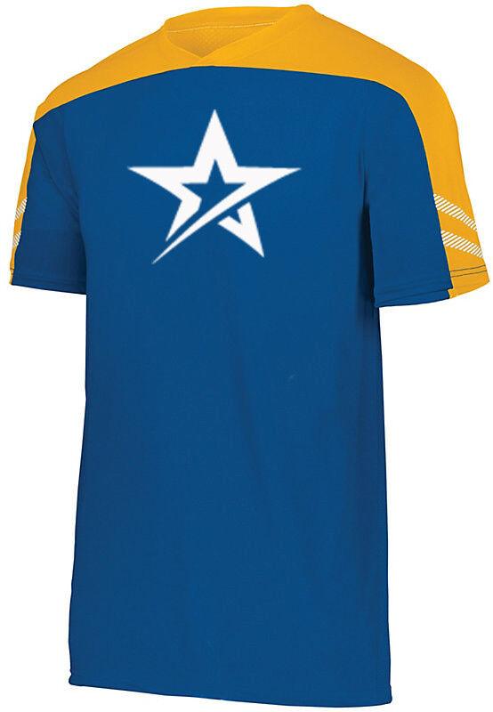 redo Grip Men's Nomad Performance Crew Bowling Shirt DriFit bluee Yellow White