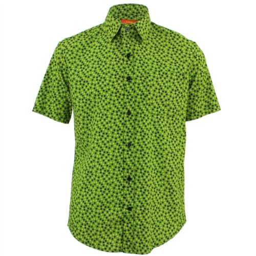 Men/'s Loud Shirt TAILORED FIT Dots Green Black Retro Psychedelic Fancy