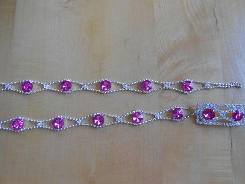 Praktisch Neu--damen-strassgÜrtel--pink-silber