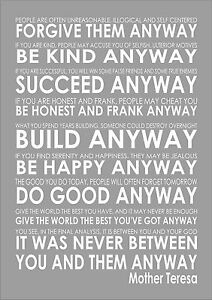 Mother teresas do it anyway inspiring motivational poem quote print image is loading mother teresa 039 s do it anyway inspiring thecheapjerseys Choice Image