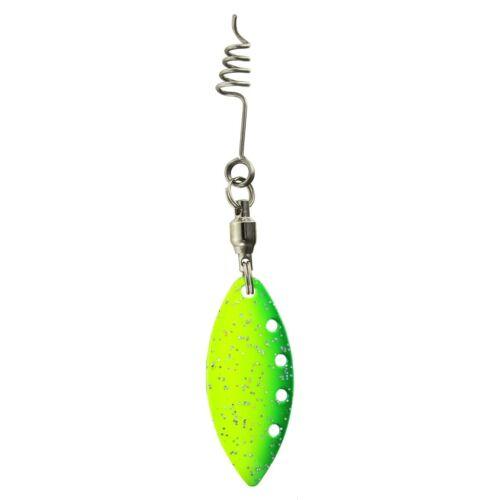 DEGA Spinner-Blättchen mit Feder-Schraube   2 Stück  yellow//green