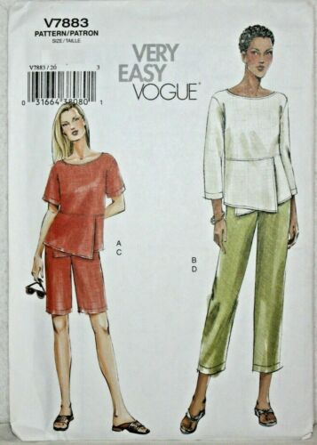 PLUS SIZE 8-24 VOGUE V7883 Very Easy Shorts Top Cropped Trousers Pattern MISSES