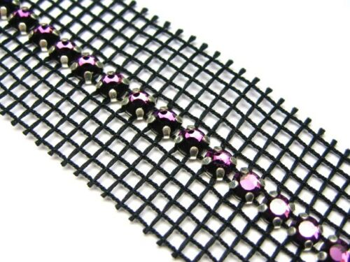 1metre 1lines Sew on Fabric//Glue Swarovski ®Mesh Amethyst Colour 0.5cm x100cm