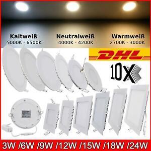 10 x LED Panel Einbaustrahler Deckenleuchte Einbau Leuchte Rund Spot Flach Slim