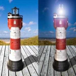 XXL-Garten-Deko-Solar-Leuchtturm-ROTER-SAND-LED-Beleuchtung-Solarbeleuchtung