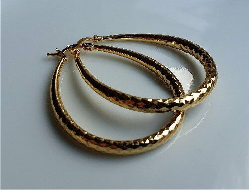 SILLY PRICE ref 07 LARGE 9ct Gold gf Hoop Earrings ALMOST SOLD OUT