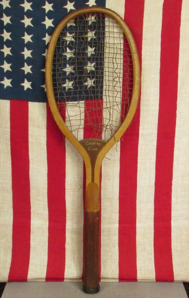 Vintage 1920s Wright & Ditson Antique Wood Tennis Racquet Country Club Display
