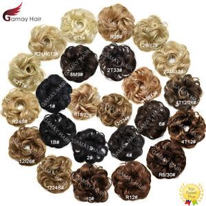 Large Curly Messy Rose Bun Hair Piece Scrunchie Ponytail Natural As Human Hair