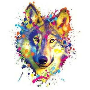 db0fcbed Multi-Color Paint Splatter Wolf T-Shirt colorful neon All Sizes ...