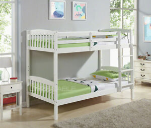 Natural-Pine-or-White-Single-Kids-Bunk-Bed-Wooden-Frame-with-Mattress-Option-New