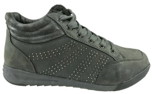 LADIES FAUX LEATHER COMFORT INSOLE HIGH-TOP TRAINERS DARK GREY SIZE 4-9 NEW