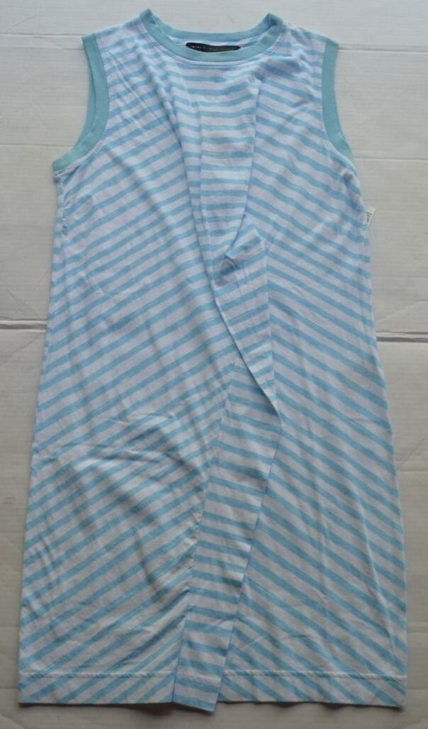 NEW Marc by Marc Jacobs Sleeveless 100% Cotton White bluee Striped Dress Size S P