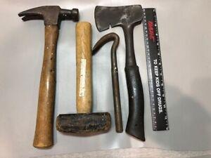 Lot-of-4-Carpenter-Tools-22-oz-Hammer-3-lb-Sledge-Hatchet-and-Cats-Paw