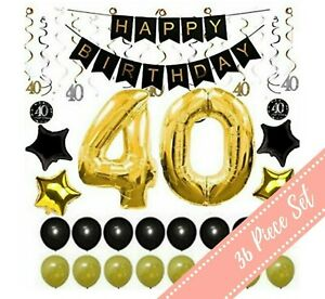 Image Is Loading 36Pcs 40th BIRTHDAY PARTY DECORATIONS Balloons Supplies 40