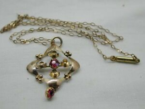 Art-Nouveau-Lovely-9-Carat-Gold-And-pink-Stone-Pendant-On-Antique-Chain