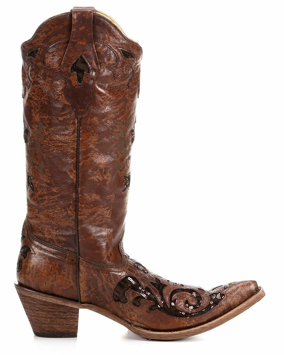 CORRAL Women's Women's Women's Brown Goat Sequin Inlay Leather Pointed Toe Boots C2668 NIB Size 7a9dbf