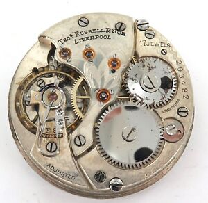 .NICE DIAL & MOVEMENT/ THOMAS RUSSELL & SON, LIVERPOOL 17J POCKET WATCH MOVEMENT