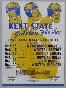 Details About 1954 Kent State College Football Schedule Poster