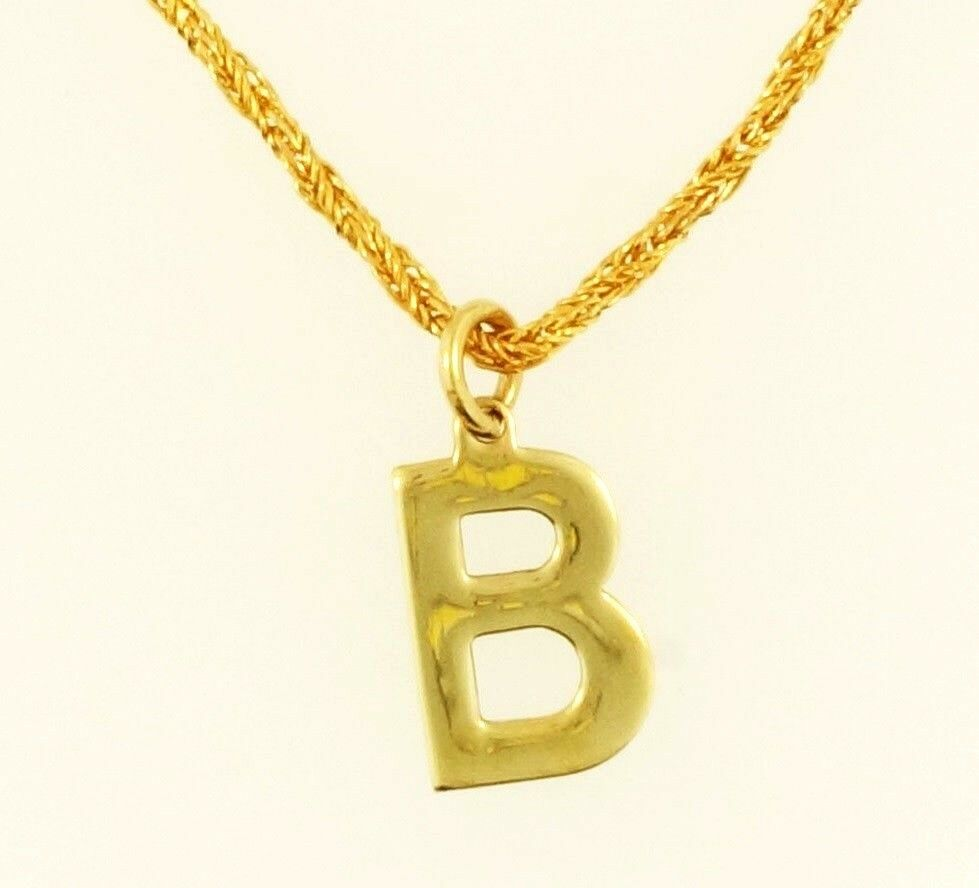 9Carat Yellow gold 'B' Pendant (8x11mm) w  16.5  Twisted Rope Chain (1mm Wide)