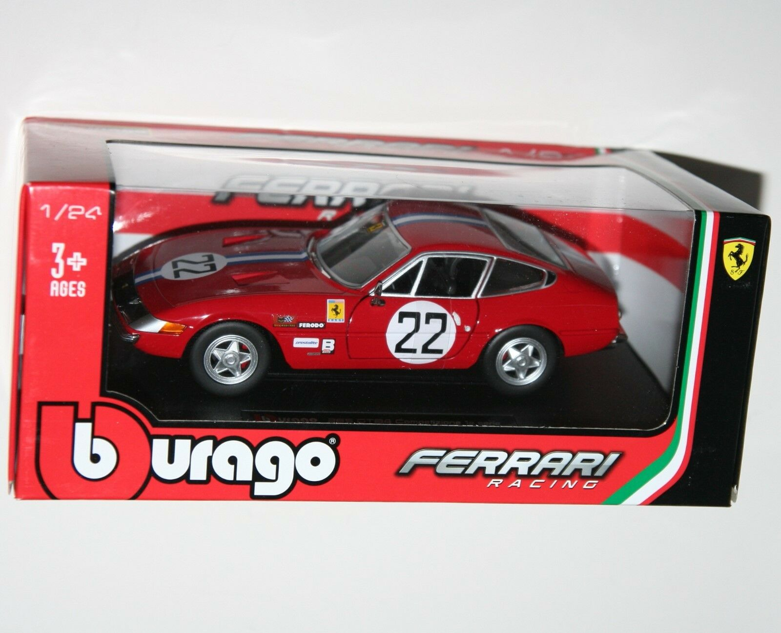Burago - FERRARI 365 GTB4 (Red) - Die Cast Model - Scale 1 24