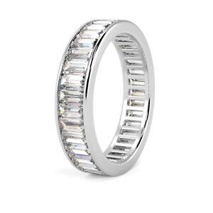 F-VS-Baguette-Diamante-Canal-Conjunto-completo-de-2-25-CT-anillo-de-la-Eternidad-Oro-Blanco-18k