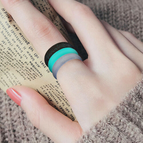 Flexible Silicone Ring Men Women Rubber Wedding Band 7//8 PACK Set Size 4-9#