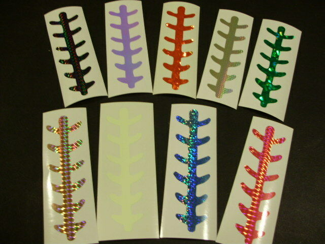 """NEW! 8/"""" LADDERBACK 4 PACK DIECUT FLASHBULB HOLO FISHING LURE TAPE 17 COLORS"""