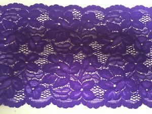 Premium-Quality-5-75inch-15cm-Violet-Purple-Double-Edge-Stretch-Flat-Lace-Trim