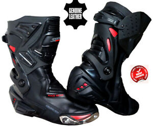 MENS-BLACK-RED-HIGH-TECH-MOTORBIKE-MOTORCYCLE-RACING-BOOTS-SPORTS-LEATHER-SHOES