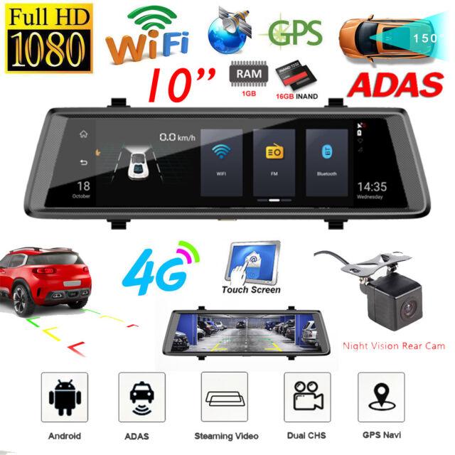 10in 1080P 4G WiFi Android Car Rearview Mirror DVR Dash Cam ADAS GPS  Navigator