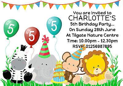 Personalised Safari Birthday Party Invitations- Monkey - Zebra - Lion - Elephant