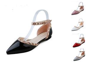 molto carino 02b36 34cf5 Dettagli su Scarpe basse con borchie ballerine con punta lucide con cinghia  fibia caviglia