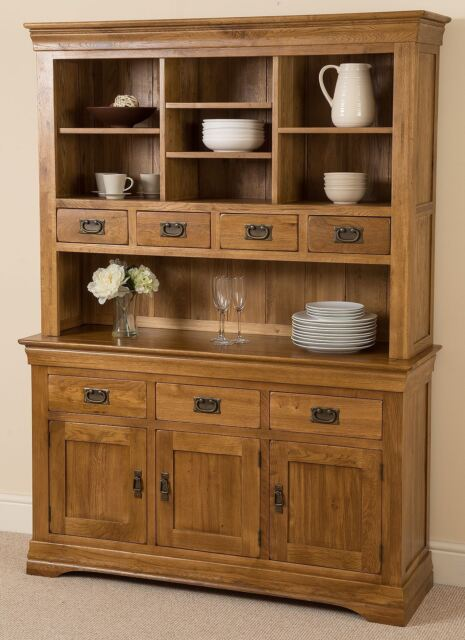 French Rustic Solid Oak Large Welsh Dresser Cabinet Wall Unit Dining Room