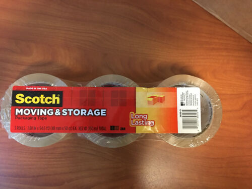 1.88INx 54.6 Yd. Scotch Long-Lasting Storage Packaging Tape Pack Of 3 Rolls