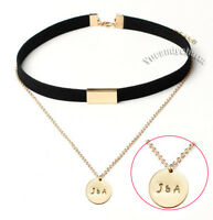 Personalized Custom Name Engraving Stamped Choker Leather Layer Charm Necklace