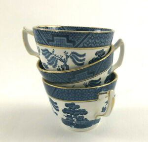 3-vintage-BOOTHS-coffee-or-tea-cups-REAL-OLD-WILLOW-A8025-no-saucers-1921-1943