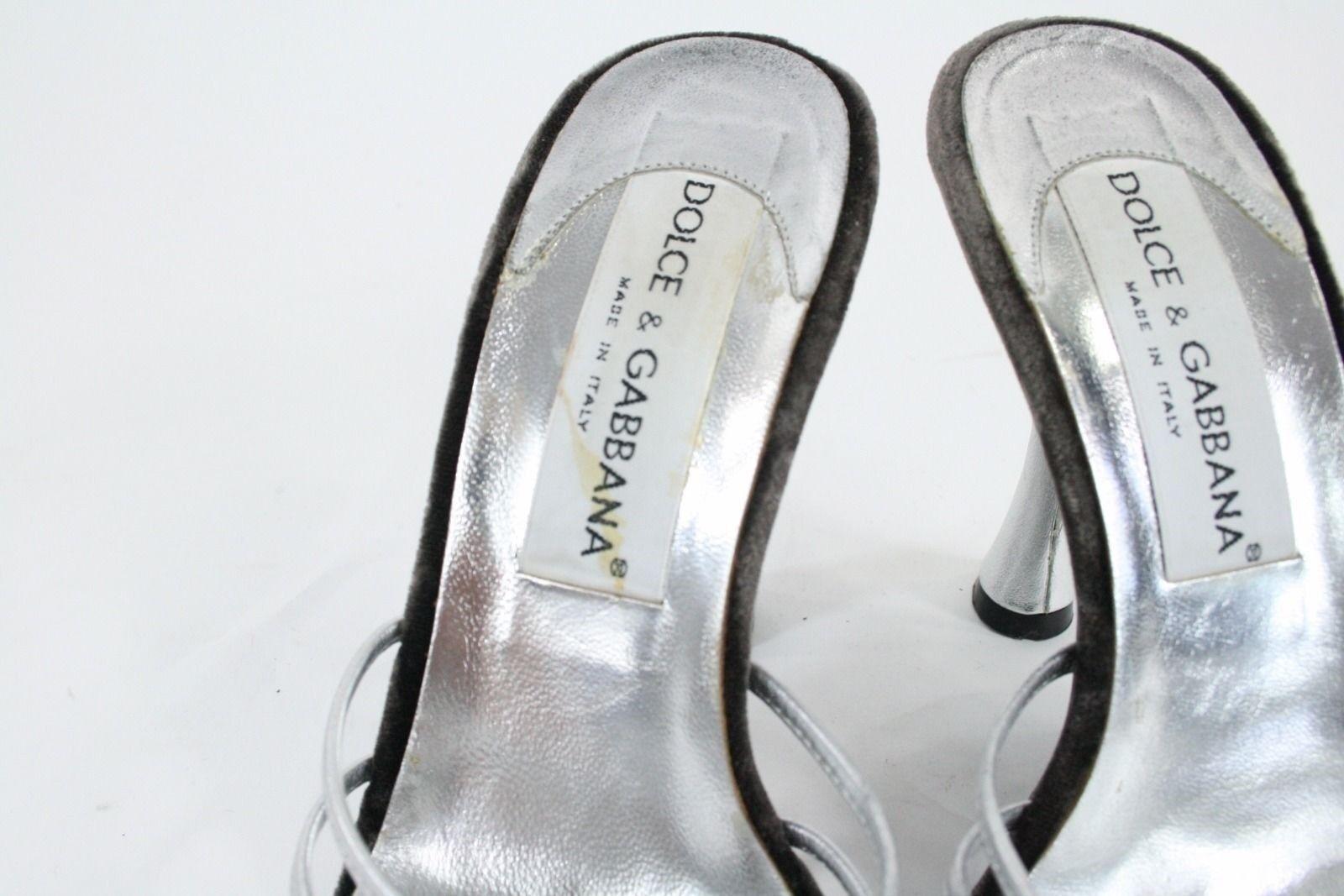 Dolce & Stiletto Gabbanna Silver Leder Strappy Front Backless Stiletto & Sandales Sz 35.5 c9b149