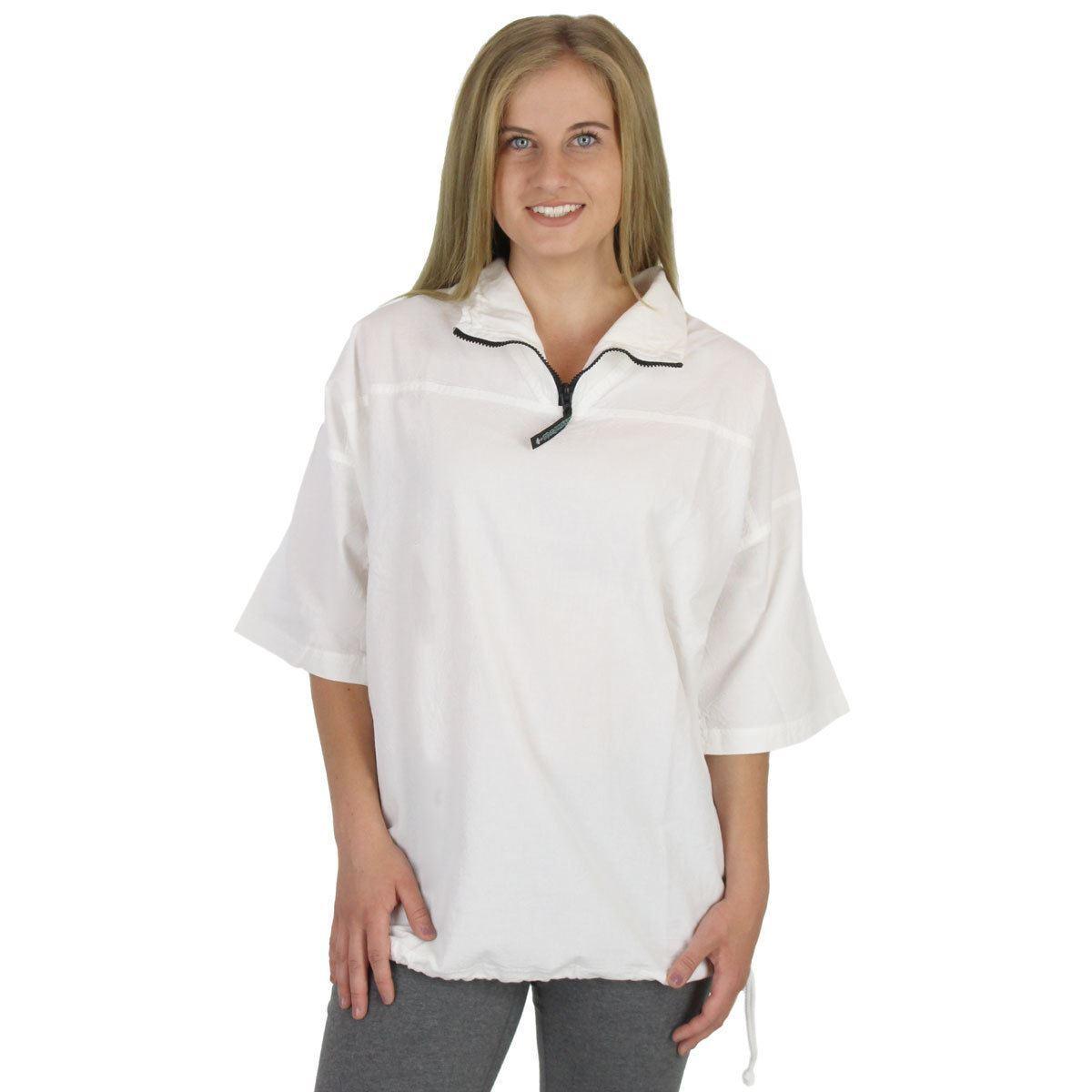 damen Honeykomb Cotton Short Sleeve Zip Top - 100 Percent Cotton Top