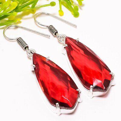 "Fashion Jewelry Garnet Gemstone Handmade Ethnic Fashion Jewelry Earring 1.9"" Se5219 Earrings"