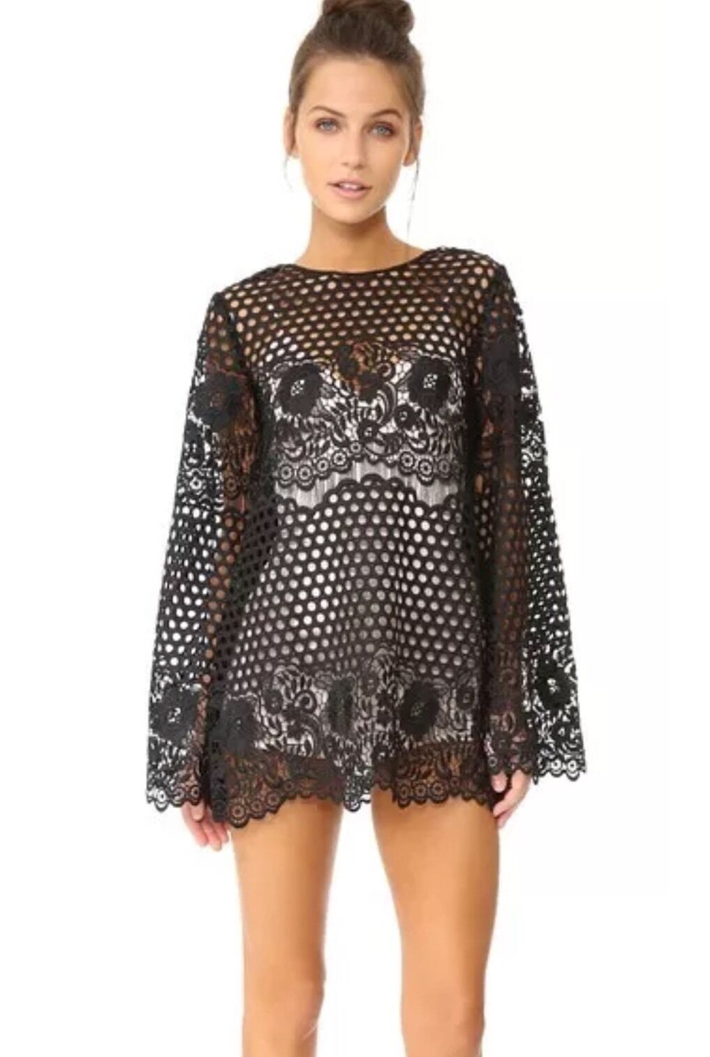 NEW  Alice McCall 'Like I Would' schwarz Crochet Lace Dress Größe 0 Cover Up